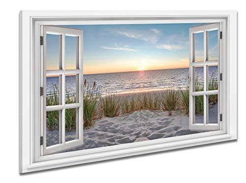 Ayra- Leinwandbild Wandbild Fensterblick Keilrahmenbild Strand Nordsee Meer- fertig gerahmt! kein Poster (70x50x2cm, Variant A)