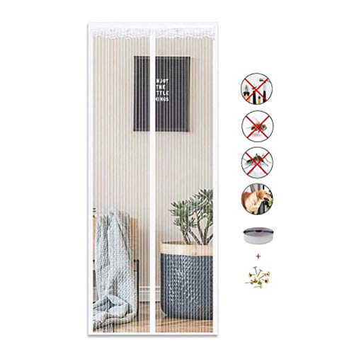 DTKJ Fly Screens for Doors , Anti Mosquito Magnetic Soft Door, Automatically Closed Foldable Easy to Open and Close,White,47.2×94.5in
