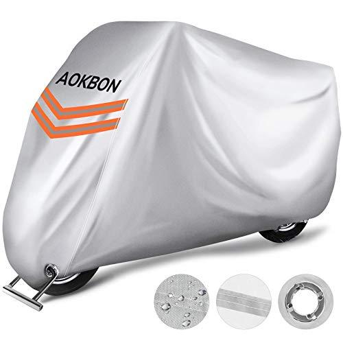 AOKBON Funda Moto Fundas Impermeables para Moto Protectora Impermeable y Resistente al Viento Lluvia Nieve Antipolvo para Protección al Aire Libre con Bandas Reflectantes, Negro+Plata