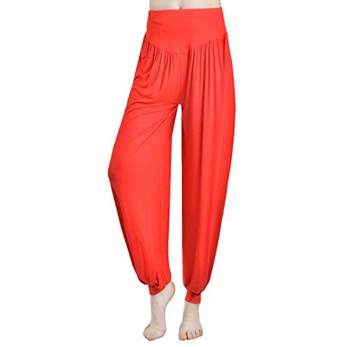 JLTPH Mujer Pantalones de Yoga Anchos Sólido Color Largos Baggy Pantalones Elásticos...