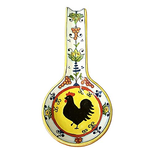 CERAMICHE D'ARTE PARRINI - Italian Ceramic Art Spoon Rest Pottery Holder Hand Painted Decorated Rooster Gaul Made in ITALY Tuscan