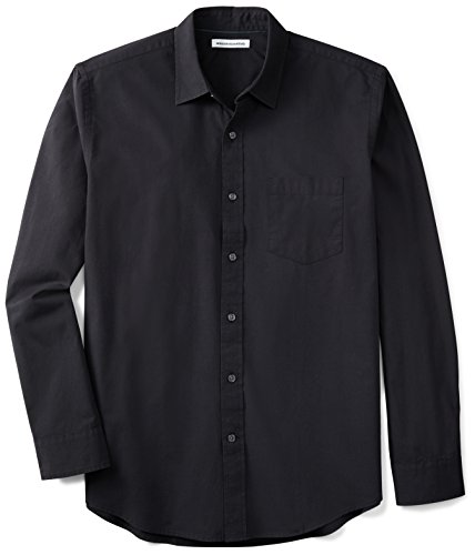 Amazon Essentials Men's Regular-Fit Long-Sleeve Solid Casual Poplin Shirt, Washed Black, Large