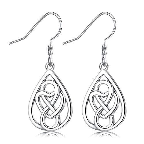 Sllaiss Celtic Love Knot Earrings 925 Sterling Silver Earrings for Women Good Luck Irish Celtic Knot Teardrop Infinity Love Dangle Earrings (Silver)