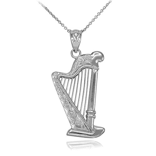 Harp Musical Instrument Sterling Silver Pendant Necklace, 16'