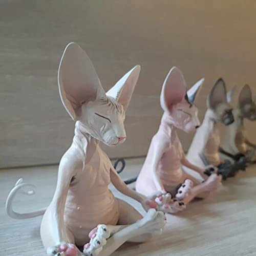 Sphynx Cat Meditate Statue, Funny Collectible Figurines Zen Yoga Relaxed Pose Buddha Meditation Sphynx Cat Collections Cat Statue for Home Office Lover Gifts for Women Cat Desk Decoration (C, 1PC)