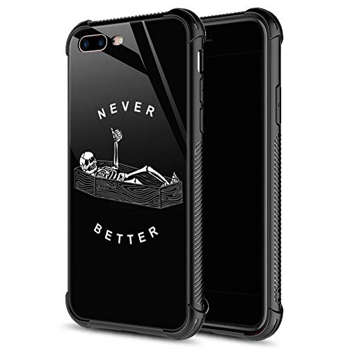 iPhone SE 2020 Case, iPhone 8 Case Never Better Skeleton iPhone 7 Cases, Tempered Glass Back+Soft Silicone TPU Shock Protective Case for Apple iPhone 7/8/SE2