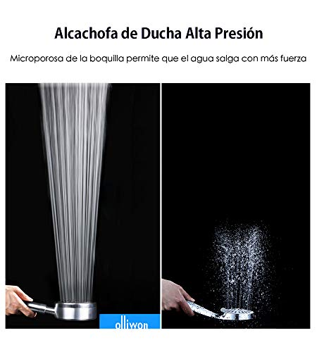 Olliwon Alcachofa de Ducha con Alta Presión Acero Inoxidable Cabezal de Ducha Ahorro de Agua Ducha de Mano, Fácil de…