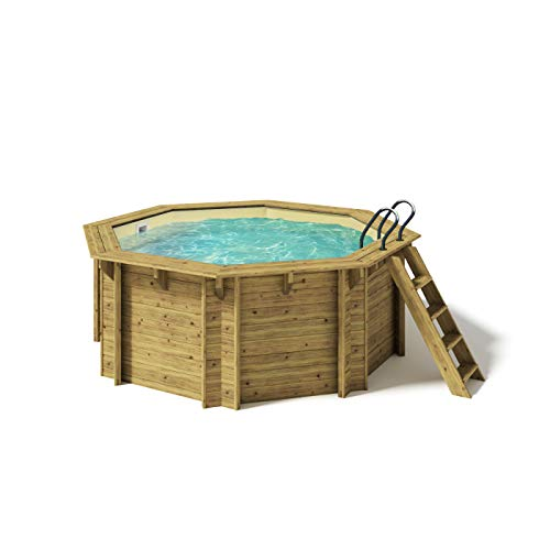 Paradies Pool® Holzpool Kalea Premium Komplettset inkl. Filteranlage für 50er Verrohrung, Scheinwerfer LED weiß, Folie Sand mit 0,8mm Stärke, Achteck-Pool, 354 x 118 (Ø x H), Menge: 1 Stück