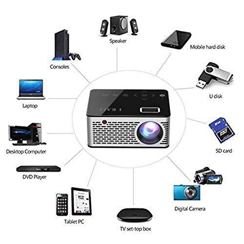 I Kall T200 TFT LCD Display WiFi Portable Projector Black