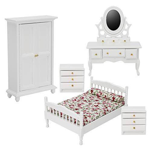 Asixxsix Muebles de casa de muñecas, Material de Madera, Kit de casa de muñecas Ignite Imagination, Dormitorio no tóxico y de Seguridad para niños para Adultos, hogar(5-Piece Room Furniture Set)