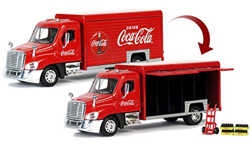 Coca-Cola 1/50 Beverage Delivery Truck with 2 Sliding Doors, Handcart and 2 Bottle Cases