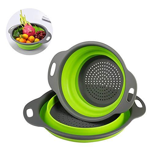 Colador de cesta de drenaje de silicona plegable, portátil, alimentos escurridos, frutas, verduras, 2 filtros de silicona Filtro plegable de cocina que ahorra espacio