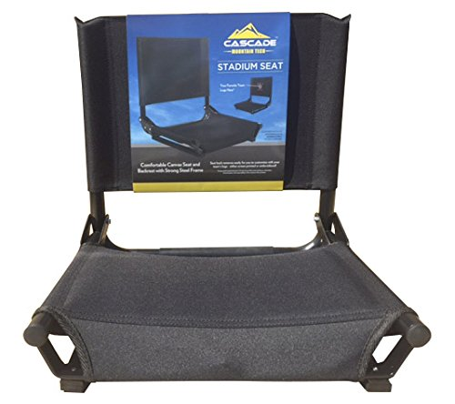 Cascade Mountain Tech Portable Folding Steel Stadium Seats for Bleachers - Black