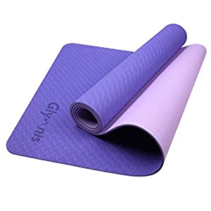 Glymnis Esterilla Yoga Antideslizante Colchoneta Yoga Mat Esterilla Deporte de Material Ecológico TPE Esterilla Pilates con Correa 183mm x 61mm x 6mm Violeta