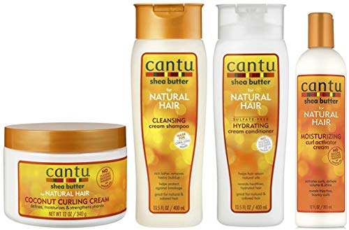 Cantu Coconut Curling Cream 12oz mit sulfatfreiem Shampoo & Conditioner 12oz & Sheabutter Feuchtigkeitsspendende Curl Activator Cream 12oz