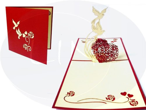 Lin Pop Up Cards Wedding Card, Wedding Invitations, 3D Greeting Cards Wedding Congratulations, Wedding Heart with Doves