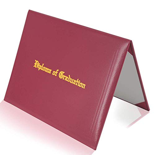 GraduatePro Imprinted Diploma Cover 8.5 x 11, Leatherette Padded Certificate Covers, Graduation Document Holder Letter Size, Maroon