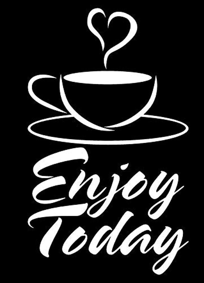LLI Enjoy Today Coffee | Decal Vinyl Sticker | Cars Trucks Vans Walls Laptop | White | 5.5 x 3.5 in | LLI1286