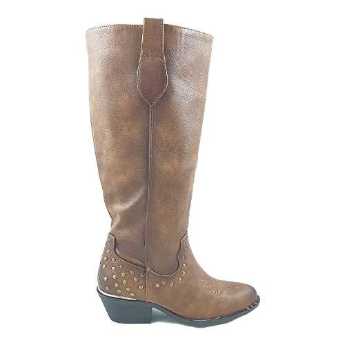 Timbos Zapatos - 122862 Bota Tipo Tejana para Mujer, Color Camel, Material Polipiel, Cierre Cremallera, Colección Invierno