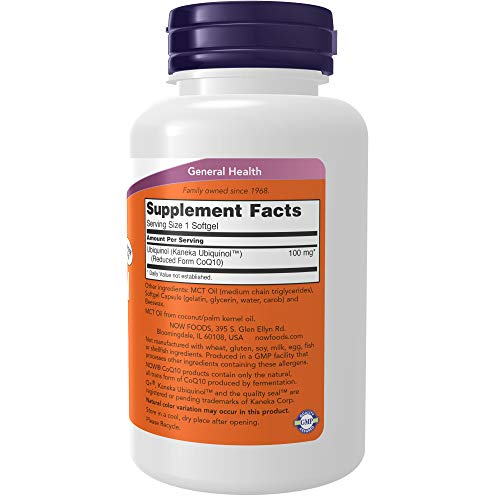 NOW Supplements, Ubiquinol 100 mg, High Bioavailability (the Active Form of CoQ10), 120 Softgels