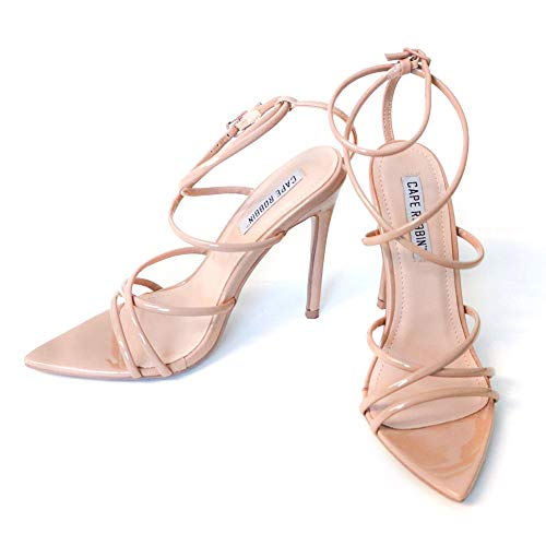 Cape Robbin Ada Sexy Stiletto High Heels for Women, Strappy Pointed Open Toe Shoes Heels - Nude Size 11