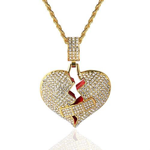 Goldkette Herren Iced Out,18 Karat Echt Vergoldet Pflaster Gebrochenes Herz Anhänger Halskette,Volle Cz Labordiamants Zinken-Set,mit Seilkette 60cm