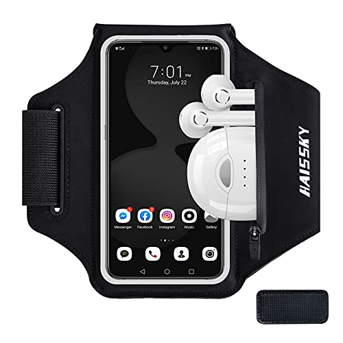 HAISSKY Running Armband with Airpods Bag Cell Phone Armband for iPhone 12 Pro/11 Pro/XS/X/8, Galaxy S21/S20/S10, Water Resistant Sports Phone Holder & Zipper Slot Car Key Holder for 6.4 inch Phone