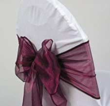 Sarvam Fashion Set of 10 Chair Bows Sashes Tie Back Decorative Item Cover ups for Wedding Reception Events Banquets Chairs Decoration (Wine)