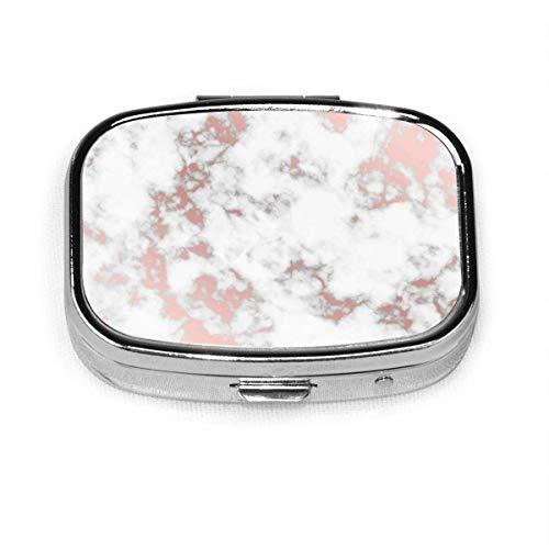 Roségold Marmor benutzerdefinierte Mode Silber quadratische Pille Box Medizin Tablettenhalter Brieftasche Organizer Fall für Tasche oder Geldbörse