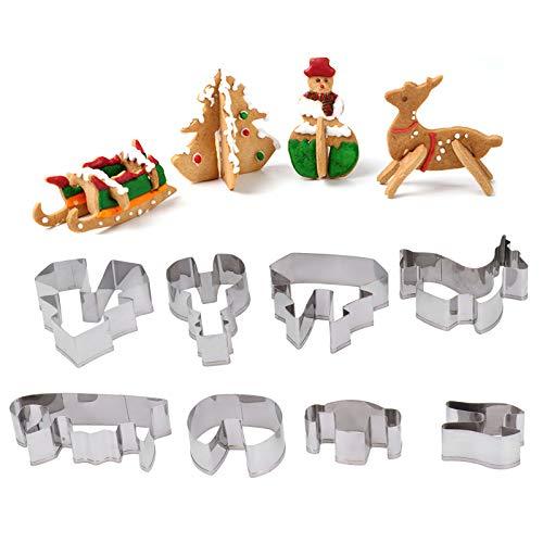 Set di formine per biscotti natalizi 3D, formine per biscotti in acciaio inossidabile da 8 pezzi Formine per biscotti Stampo per caramelle con albero di Natale, pupazzo di neve, cervo e forme a slitta