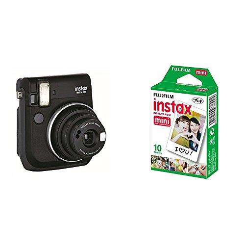 Fujifilm Instax Mini 70 - Cámara analógica instantánea (ISO 800, 0.37x, 60 mm, 1:12.7, flash automático, modo autorretrato, exposición automática, temporizador, modo macro), negro medianoche + 1 paquete de películas fotográficas instantáneas (10 hojas)