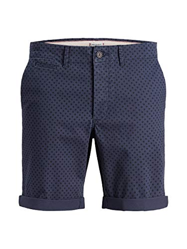 JACK & JONES Herren JJIENZO Chino WW 01 STS Shorts, Mehrfarbig (Navy Blazer Detail: Mini Print), W(Herstellergröße: S)