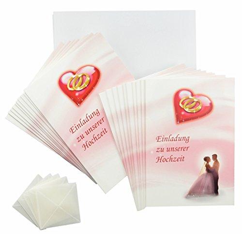 Hochzeit Einladungskarten rosa - rot - weiß im Set. Einladungen zum Hochzeit feiern 20 x Einladungskarten, 20 weiße Umschläge, 20 Fotoecken mit Foto selbstgestalten (20 Stück, Einladungskarten)