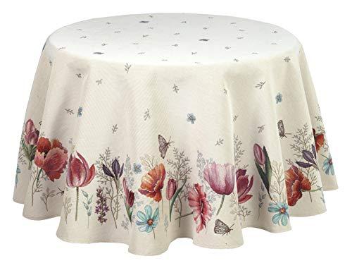 Elegante und Edle Landhaustischdecke Gobelin 160 cm mit Tulpen, Traumdecke von Provencestoffe