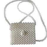 Bolsos Mujer Bolso De Perlas con Cuentas Mini Mini Flap Messenger Bag Mujer Damas Vintage Evening Party Clutch Bolso De Mujer