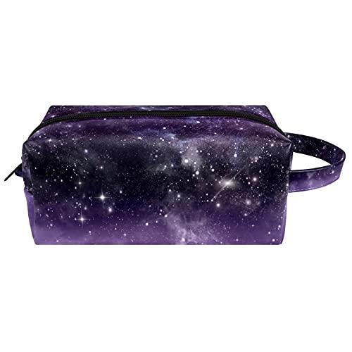 Space Galaxy Purple Universe Girl Bolsas de maquillaje portátil organizador cosmético bolsa mujer colgante neceser