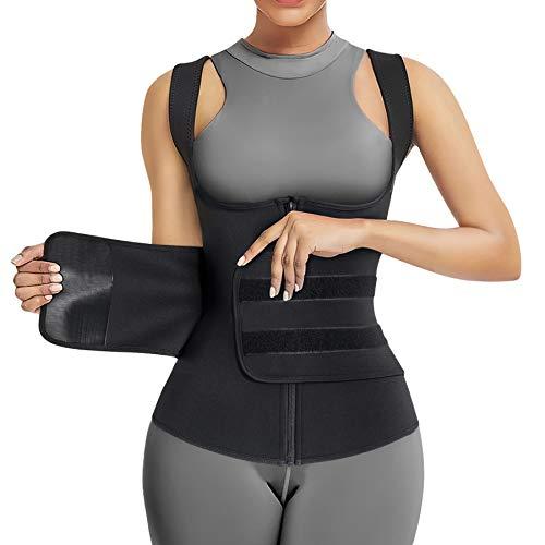 Bingrong Damen Sauna Bauchweggürtel Schwitzgürtel Abnehmen Korsett Taillenformer Fitness Waist Trainer Gürtel zur Fettverbrennung Body Shaper Verstellbarer Fitnessgürtel (Schwarz, Medium)