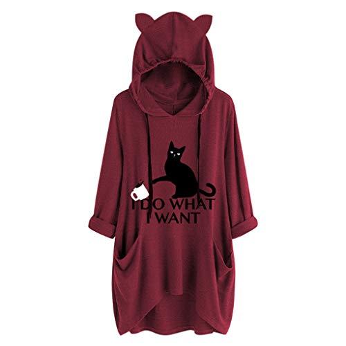 YEBIRAL Damen Hoodie Kapuzenshirt Lässige locker Oberteile Frauen Mode Casual Katze Bedrucken T Shirt Pullover Kleid Sweatshirt Mit Kapuze und Taschen (A-01Weinrot, XL)
