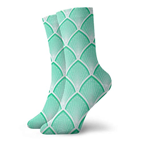 Caswyy Socks Calcetines de senderismo para hombres y mujeres, con cojín absorbente, calcetines atléticos, básculas, U Suns, arte deco, verde y menta largo 30 cm