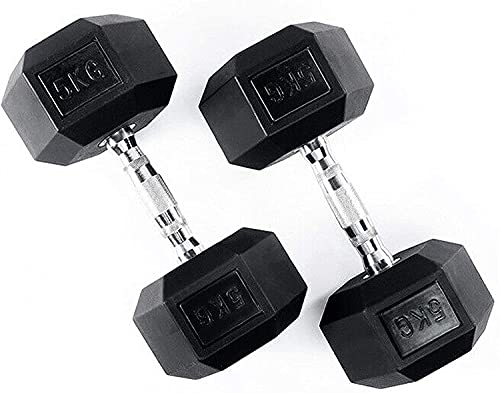 MART DEALS LTD® Dumbbell Set - Home Gym Hex Dumbbells Weights Set, Rubber Encased Cast Iron Weights for Men and Women, Professional Strength Training Equipment. 2 X 5kgs