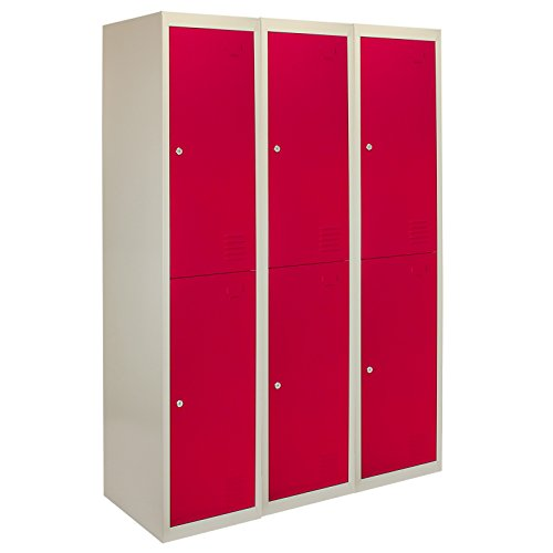 Metal Storage Lockers Lockable 2 Door Flat Packed 3 x Changing Room School Work Office Gym Staff Sports Cabinet Filing Unit Steel Shelves Shelving Red Grey | FREE Magnets | FREE Name Cards