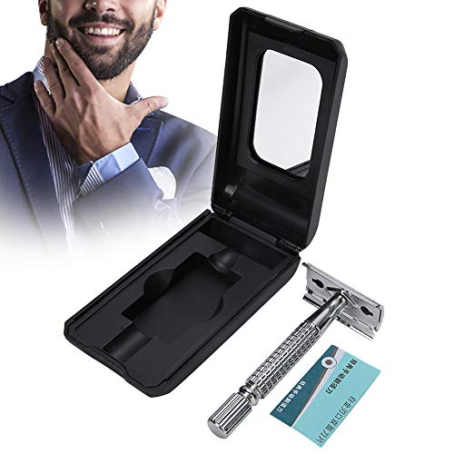 Maquinilla de afeitar de doble filo, maquinilla de afeitar de seguridad con cabezal de hoja de doble cara, maquinilla de afeitar mecánica tradicional de acero inoxidable
