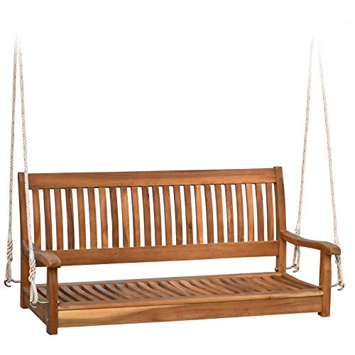 Outsunny 48'' Wooden Swing Bench w/Supportive Ropes for 2 Person Without Frame for The Patio, Deck, or Backyard Natural