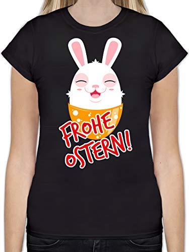 Ostern - Frohe Ostern - Osterhase - S - Schwarz - Damen Shirt sexy - L191 - Tailliertes Tshirt für Damen und Frauen T-Shirt