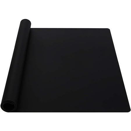 Webake Tapis de Cuisson en Silicone Anti-dérapant Tapis à Pâtisserie Fonction Multiple Imperméable Tapis de Placement et Résistant à la Chaleur, Tapis de Protecteur de Comptoir, 60×40cm, Noir