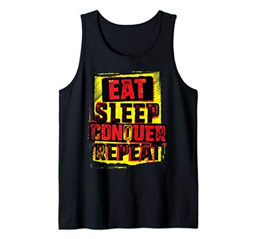 WWE Brock Lesnar Stencil Eat Sleep Tank Top