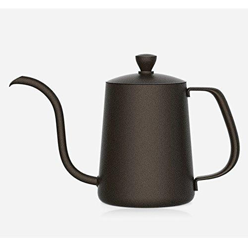 TAMUME 350ml Tropfwasserkocher mit 4MM Tülle Drip Kettle Antihaft Beschichtung für Drip Kaffee und Edelstahl-Körper Kaffeefilterhersteller (Schwarz mit Deckel)
