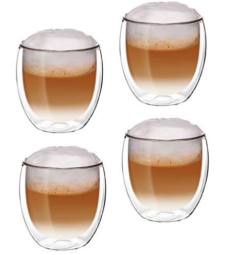 Glassquisite - doppelwandige Gläser – Thermogläser – 2er Set mit Schwebe-Effekt - je 300 ml – ideal geeignet für Heiß- oder Kaltgetränke wie Tee, Cappuccino, Kaffee, Wasser, Cocktails (2)