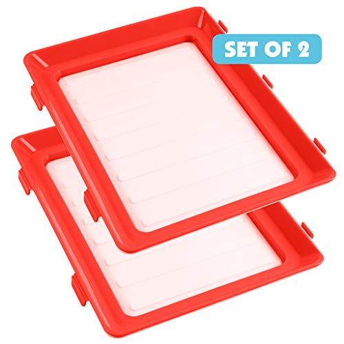 Durandal Lunchbox to go | Praktische Bento-Box BPA-frei | Umweltfreundliche Brotdose für Mikrowelle & Spülmaschine | Frischhaltedose Click & Fresh 2er-Set (Rot)