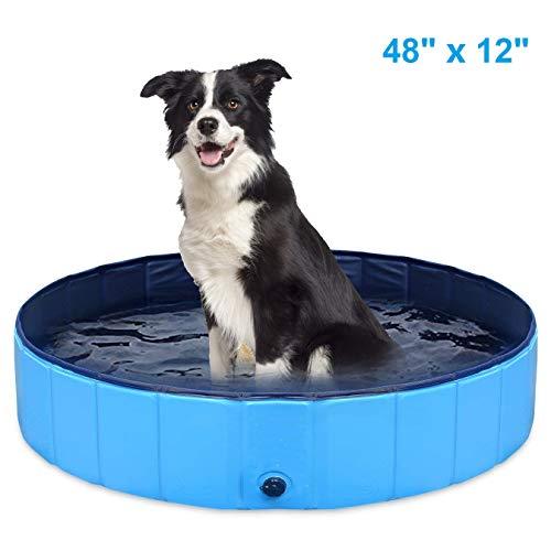 AQOTER Faltbares Haustier-Schwimmbecken PVC Tragbares zusammenklappbares Kiddie-Baby-Hundekatzen-Badewanne, rundes auslaufsicheres PVC-Wasserbecken, Indoor-Outdoor-Spielwaschbecken